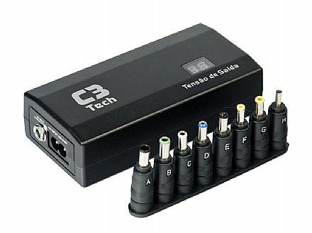 Fonte Universal para Notebook 90W C3 Tech NB-90P - 12V a 24V - com Carregador Veicular