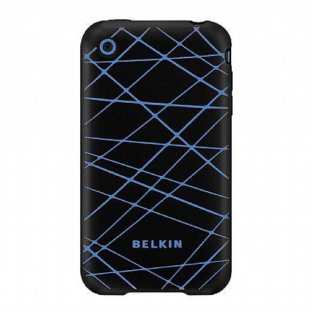 Capa para iPhone 3G - Belkin Grip Vector - Silicone Preto/Azul - F8Z474-BKB