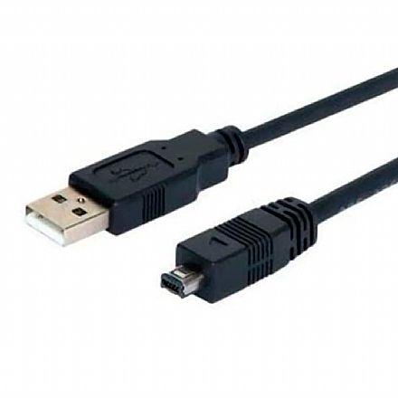 Cabo USB para Mini USB - 4 pinos mini B-4 - para Câmera Digital